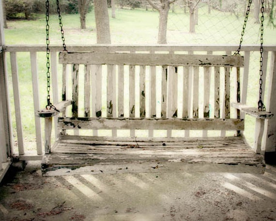 Porch Swing Photograph, County Home Decor, Farmhouse Porch, Old White Porch Swing, Cottage Chic Wall Art, Rustic Home Decor 8x10
