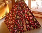 Child's Play Teepee - Wooden poles - Multi-Color Dots on Brown (Free Shipping)
