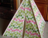 Child's Play Teepee - Wooden poles - Pink and Green Flowers (Free Shipping)