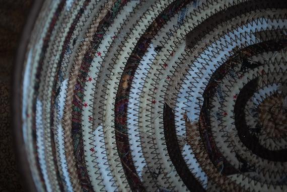 Large bread basket - Tan, brown, chocolate swirl fabric coil bowl
