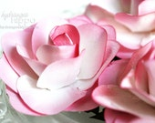 Pretty Pink - 2.5 inch - Paper Rose Flowers - 12 pieces
