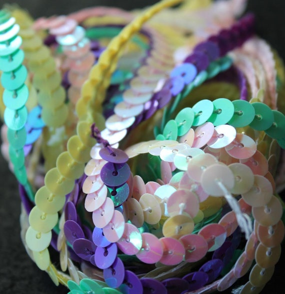 5 Yard Sequin Assortment - SPRING EGG - Iridescent White, Baby Pink, Chick Yellow, Iridescent Violet, Celadon