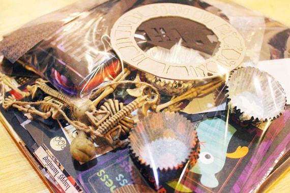 DESTASH - Two Pounds of HALLOWEEN - Scrapbook Paper - Diecuts - Stickers - Ribbon