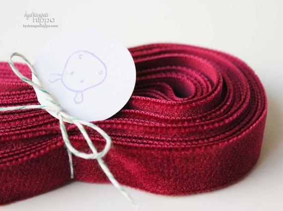 Gorgeous BERRY Red Velvet Ribbon 5/8 inch Trim- 3 Yards