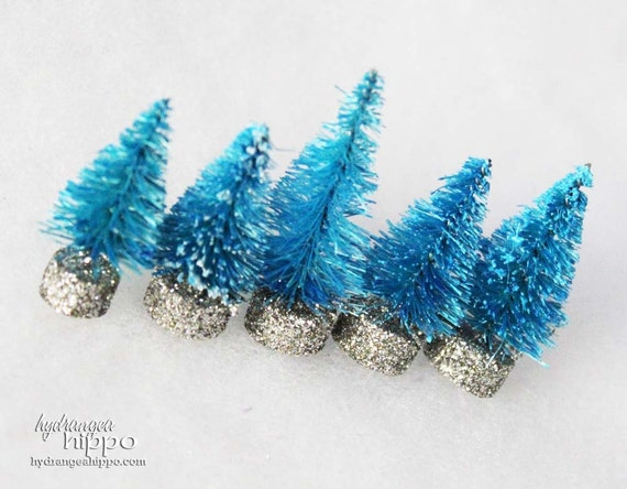 Set of 5 Handmade- Vintage Style -Bottle Brush- Christmas Trees in ELECTRIC BLUE - No. 111