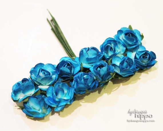 CYAN Blue Mini Roses - Set of 12 on Wire Stem
