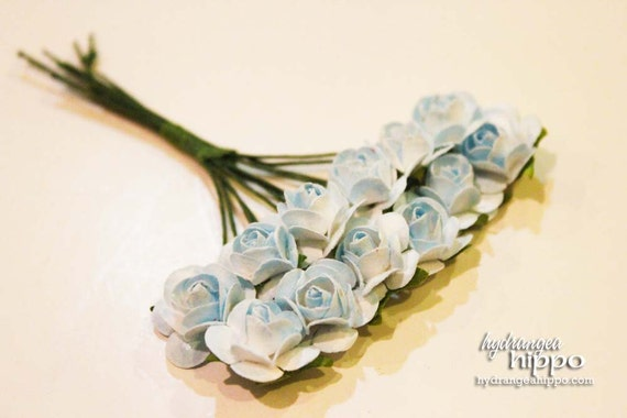 Baby BLUE Mini Roses - 2 Sets of 12 - 24 Pieces on Wire Stem