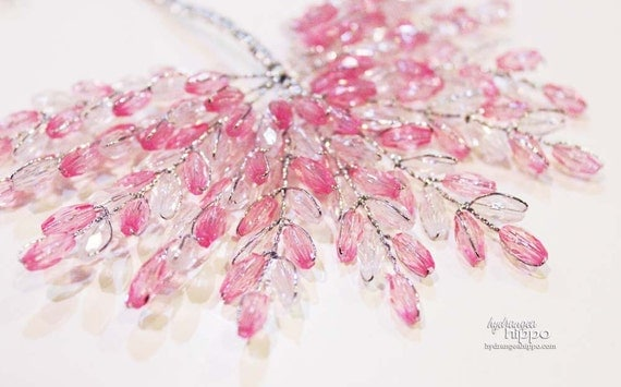 Beaded Spray - 12 Pieces - 3 inches long -  Sweet Pea Pink