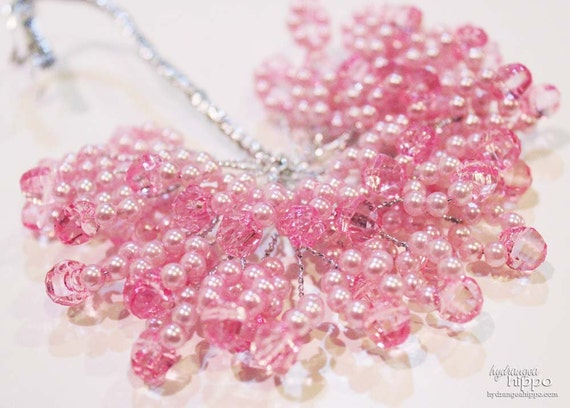 Beaded Spray - 2 Sets of 12 - 24 Pieces - 3 inches long -  Sweet Pea Pink