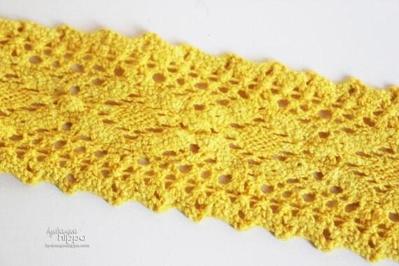Wide Sunny Yellow Crochet Trim - 3 Yards