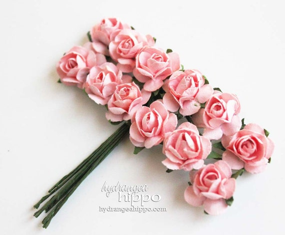 Sweet Cameo Pink Mini Roses - 2 Sets of 12 - 24 Pieces on Wire Stem