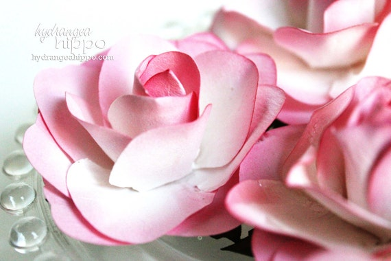 Pretty Pink - 2.5 inch - Paper Rose Flowers - 6 pieces
