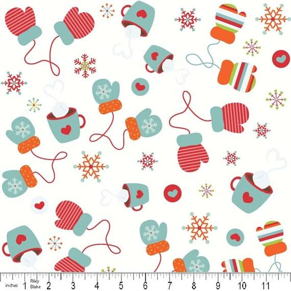 Riley Blake's Colorful Christmas Mittens White 1 Yard
