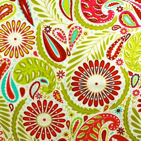 Kumari garden fabric dena designs sanjay red holiday for Kumari garden fabric by dena designs