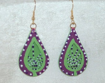 Green and Purple Leaf Earrings Glass and Copper Handmade and Hand Painted