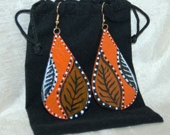 Orange and Black Leaf Earrings Glass and Copper Hand Painted