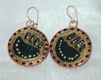 Glass and Copper Earrings Black and Gold Hand Made and Hand Painted