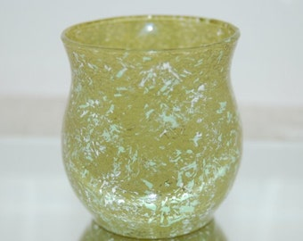 Hand Painted Moss Green Marbled Glass Candle Holder