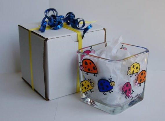 Ladybugs Glass Candle Holder Hand Painted