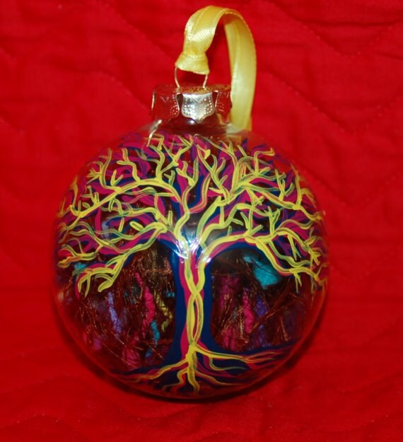Psychedelic Tree Ornament Hand Painted Glass