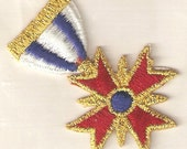 Embroidered Maltese Cross Medal Iron-On Applique