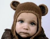CUSTOM ORDER FOR ULLA - Teddy flap hat in llama wool, eco-friendly, organic, 18 -24 months baby hat. In brown, chocolate color. I WANT MY HONEY HAT