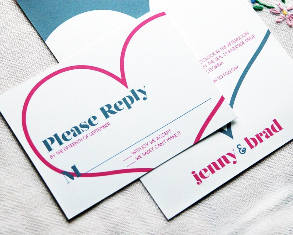 How Big Are Wedding Invitations: Wedding Invitation Sample Big Heart By HelloHappyPaper On Etsy