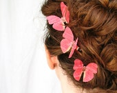three handmade red silk butterfly hair clips . autumn blush . dupioni silk
