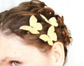 the meadow gathering . three buttery-yellow pure dupioni silk butterfly hair clips
