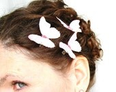 three pale pink pure silk butterfly hair clips . there is only today . for enchanted brides and fairy days