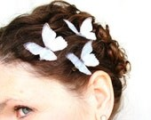 FREE US shipping . whither I wander . three ethereal blue silk butterfly hair clips