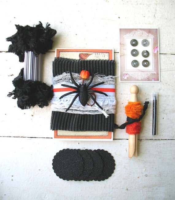 FREE SHIPPING . halloween handmade art kit . 'cobwebs and specters' . vintage inspired mixed media collage supplies . READY to ship