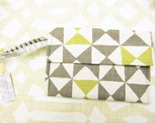 Grey and kiwi / lime green linen clutch