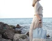 SALE - nautical sky blue tote, large beach bag, linen cotton fabric