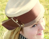 Vintage 1950s Tan and Brown Woven Hat with Pearl Pin