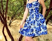 Custom Couture Dress Sweetheart Cobalt Blue Silk Twill or Custom Fabric  Floral Pinup Dress with Velvet Piping  Made to Fit