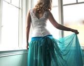 Custom Couture Lace Wiggle Wedding Dress with Detachable Silk Chiffon Skirt