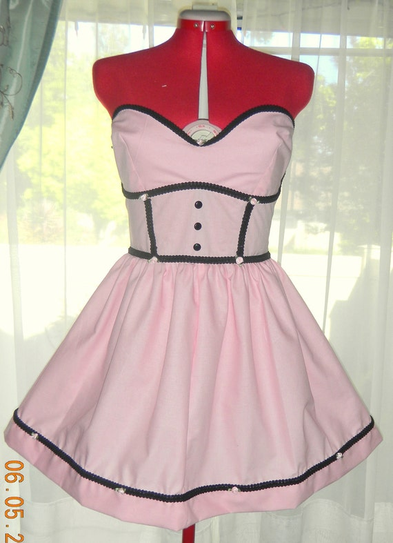 Pink and Black Bettie Page Pinup Dress Custom Made to Fit
