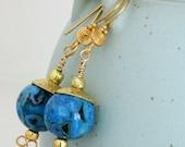 Blue Agate Earrings Gemstone Jewelry Flowered Brass Caps