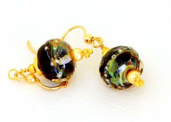 Black Glass Bead Earrings. Lampwork Bead Dangle Earrings. Black Beaded Jewelry. Glass Bead Jewelry.
