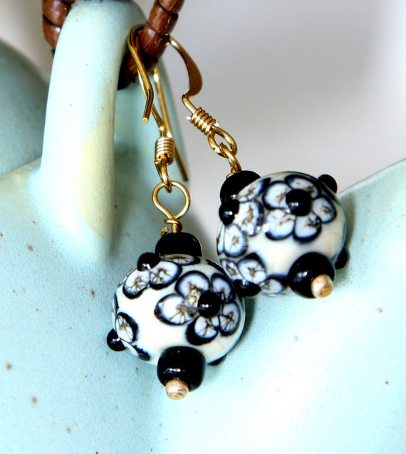 "Black and White Earrings Lampwork Glass Beaded Earrings ""Black Tie"""