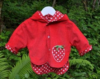 Reversible Baby Jacket / red strawberry Coat