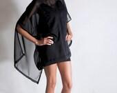 Black Draped Chiffon Dress- size S