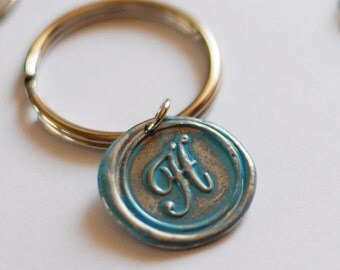 Monogrammed Initial Wax Seal KEY Chain  / great PERSONALIZED GIft Idea / buy 4 get the 5th FREE