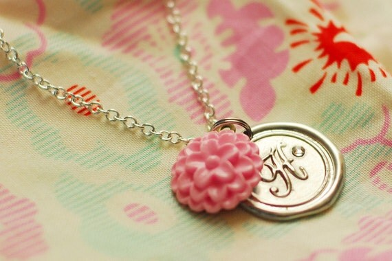 Monogrammed Initial Wax Seal Pendant with PINK FLOWER / perfect PERSONALIZED  gift  / a b c d e f g h i j k l m n o p r s t u v w z