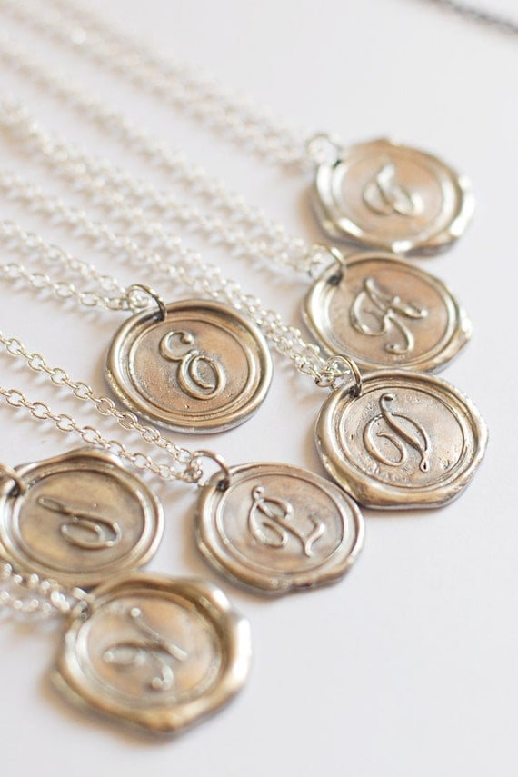 MONOGRAM Initial Wax Seal Pendant / Perfect BRIDESMAID / Gift for her / buy 4 get the 5th FREE