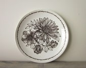 Brown and White Floral Ironstone Plate
