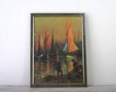 Vintage Wharf Print in Brass Frame