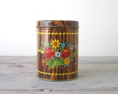 Kitschy Faux Bois Brown Wood Floral Tin Canister
