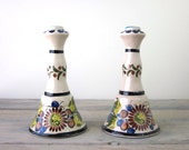 Mexican Pottery Candlesticks - Set of Two
